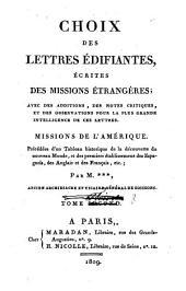 Choix des lettres édifiantes écrites des missions étrangères: Missions de l'Amérique