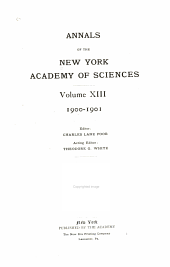 Annals of the New York Academy of Sciences: Volume 13