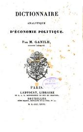 Dictionnaire analytique d'économie politique