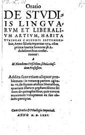 Oratio De Stvdiis Lingvarum Et Liberalivm Artivm (etc.)