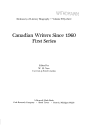Canadian Writers Since 1960 First Series Book PDF