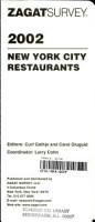 Zagatsurvey 2002 New York City Restaurants PDF