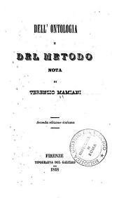Dell'ontologia e del metodo