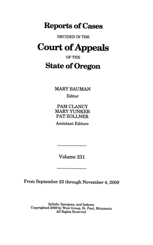 Reports of Cases Decided in the Court of Appeals of the State of Oregon