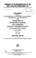 Oversight of the Implementation of the Debt Collection Improvement Act PDF