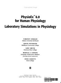 PhysioEx 6 0 for Human Physiology