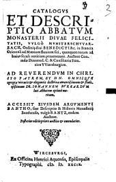 Bantho, sive Catalogi Et Descriptionis Monasterii Banthensis, Vvlgò Bantz, Eivsqve Abbatvm, ... Libri Dvo
