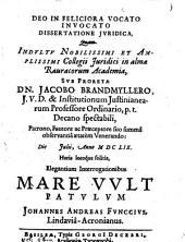 Dissertatione iur. ... mare vult patulum