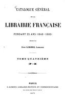 Catalogue g  n  ral de la librairie fran  aise PDF