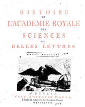 Histoire de l'Académie royale des sciences et des belles lettres de Berlin: Volume2