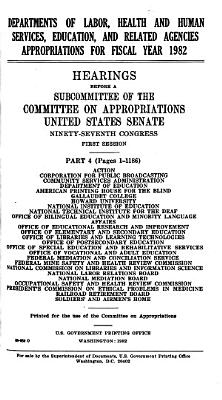 Departments of Labor  Health and Human Services  Education  and Related Agencies  Appropriations for Fiscal Year 1982 PDF