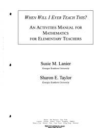 When Will I Ever Teach This An Activities Manual For Mathematics For Elementary Teachers Book PDF