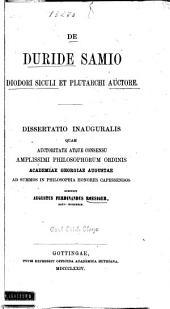 De Duride Samio Diodori Siculi et Plutarchi auctore