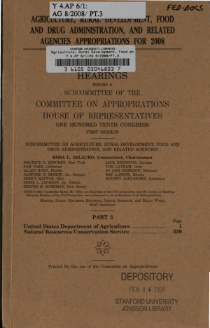 Agriculture  Rural Development  Food and Drug Administration  and Related Agencies Appropriations for 2008