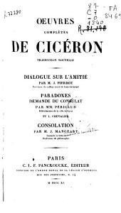 Oeuvres complètes de Cicéron: Dialogue sur l'amitié