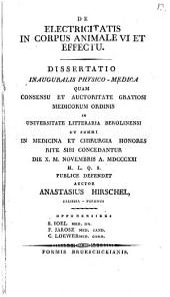 De electricitatis in corpus animale vi et effectu: Diss. phyr. med