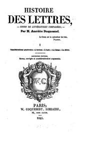 Histoire des lettres, cours de Littératúres comparées: I