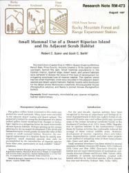 Small Mammal Use of a Desert Riparian Island and Its Adjacent Scrub Habitat PDF