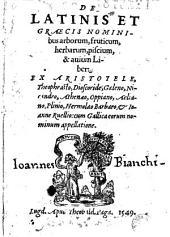 De Latinis et graecis nominibus arborum, fruticum herbarum, piscium, & auium Liber : ex Aristotele, Theophrasto, Dioscoride, Galeno, Nicandro... cum Gallica eorum nominum appellatione