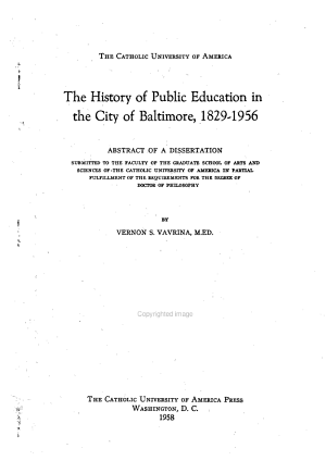 The History of Public Education in the City of Baltimore  1829 1956 PDF