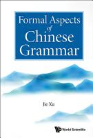 Formal Aspects Of Chinese Grammar PDF