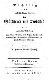 Gartnerei und Botanik: Band 3