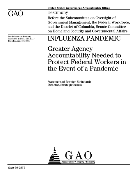 Download Influenza Pandemic  Greater Agency Accountability Needed to Protect Federal Workers in the Event of a Pandemic Book