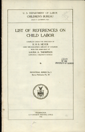 List of references on child labor: Issues 18-25