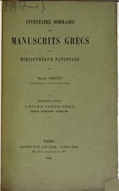 Inventaire sommaire des manuscrits grecs de la Bibliothèque nationale et des autres bibliothèques de Paris et des départements: Volume2