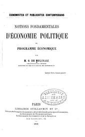 Notions fondamentales d'économie politique et programme économique
