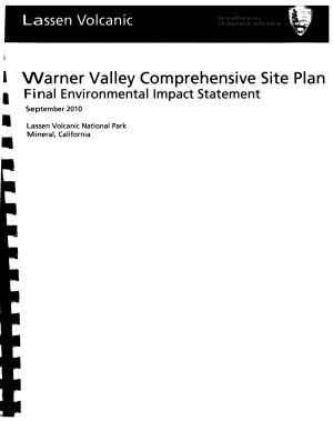 Lassen Volcanic National Park  N P    Warner Valley Comprehensive Site Plan PDF