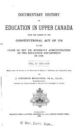 Documentary History of Education in Upper Canada: Volume 2