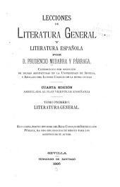 Lecciones de literatura general y literatura española: Volumen 1