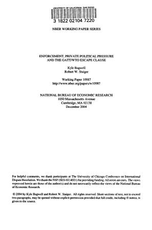 Enforcement  Private Political Pressure and the GATT WTO Escape Clause PDF