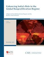 Enhancing India s Role in the Global Nonproliferation Regime PDF