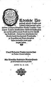 Ordenliche Verzaichniß allerley Sachen vnd Händel, so sich ... von 1555-1558 ... zugetragen haben durch Michaelem Beuther von Carlstatt