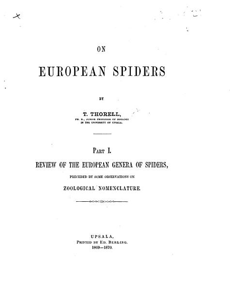 Download On European Spiders  pt  1 Book