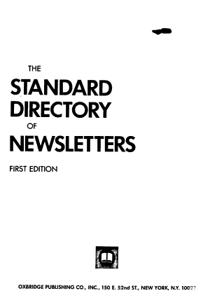 The Standard Directory of Newsletters PDF