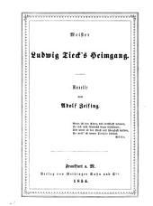 Meister Ludwig Tieck's Heimgang: e. Novelle