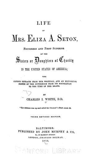 Life of Mrs  Eliza A  Seton