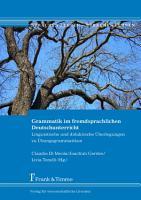 Grammatik im fremdsprachlichen Deutschunterricht PDF