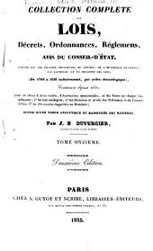 Collection complète des lois, décrets d'intérét général, traités interanationaux, arrêtés, circulaires, instructions, etc: Volumes11à12
