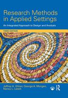 Research Methods in Applied Settings PDF