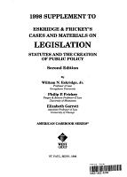 1998 Supplement to Eskridge   Frickey s Cases and Materials on Legislation PDF