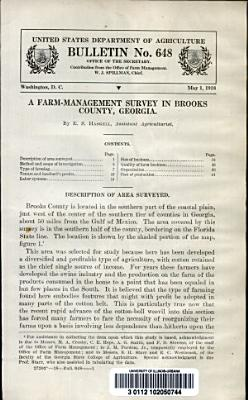 A Farm management Survey in Brooks County  Georgia