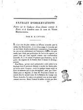 Extrait d'observations faite sur le cadavre d'une femme connue à Paris et à Londres sous le nom de Vénus Hottentotte. Par m. G. Cuvier