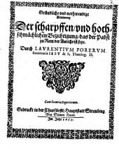 Laurentii Foreri Gründliche und nothwendige Ablainung der scharffen und hochschmählichen Bezichtigung, daß der Pabst zu Rom der Antichrist seye