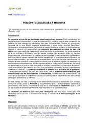 PSICOPATOLOGIAS DE LA MEMORIA