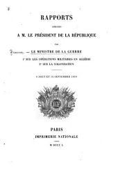 Rapports sur les opérations militaires en Algérie [et] sur la colonisation
