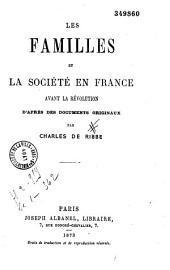 Les familles et la société en France avant la Révolution